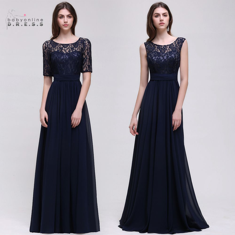 Online get cheap long navy blue bridesmaid dresses aliexpress dama de honor robe mariage a line navy blue lace bridesmaid dresses long 2017 chiffon applique ombrellifo Image collections