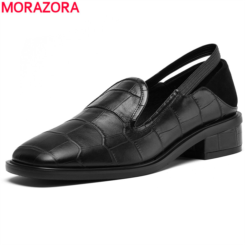MORAZORA High quality Genuine Leather Shoes Women Pumps Square Heels Spring Autumn Cow Leather Ladies Shoes Office Work ShoesMORAZORA High quality Genuine Leather Shoes Women Pumps Square Heels Spring Autumn Cow Leather Ladies Shoes Office Work Shoes