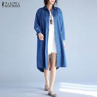 ZANZEA Women Denim Blue Cotton Linen Long Sleeve Baggy Long Shirt Dress Fashion Vintage Solid Casual