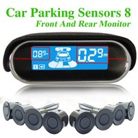12V Car Parking Radar System Digital LED Auto Parking Sensor with 8 Rear Front Monitoring Sensors Auto Reverse Backup Radar Kit