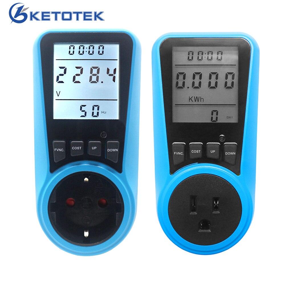 La UE nos enchufe de CA medidor de potencia Digital vatímetro Watt energía Monitor de corriente de voltaje Herz precio pantalla hembra analizador