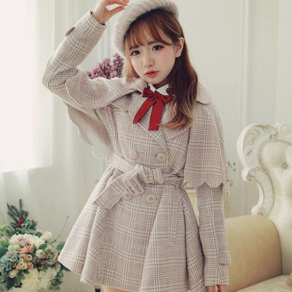 Princess sweet lolita coat BoBON21 Original design winter student cloak shawl Vintage British grid Woolen Trench