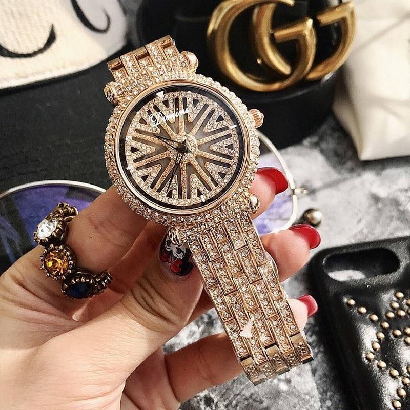 Moda 360 obrót fioletowy Dial zegarek dla pań luksusowe róża diamentowa złoty pasek ze stali kwarcowy zegarek damski reloj dla kobiet prezent w Zegarki damskie od Zegarki na  Grupa 1