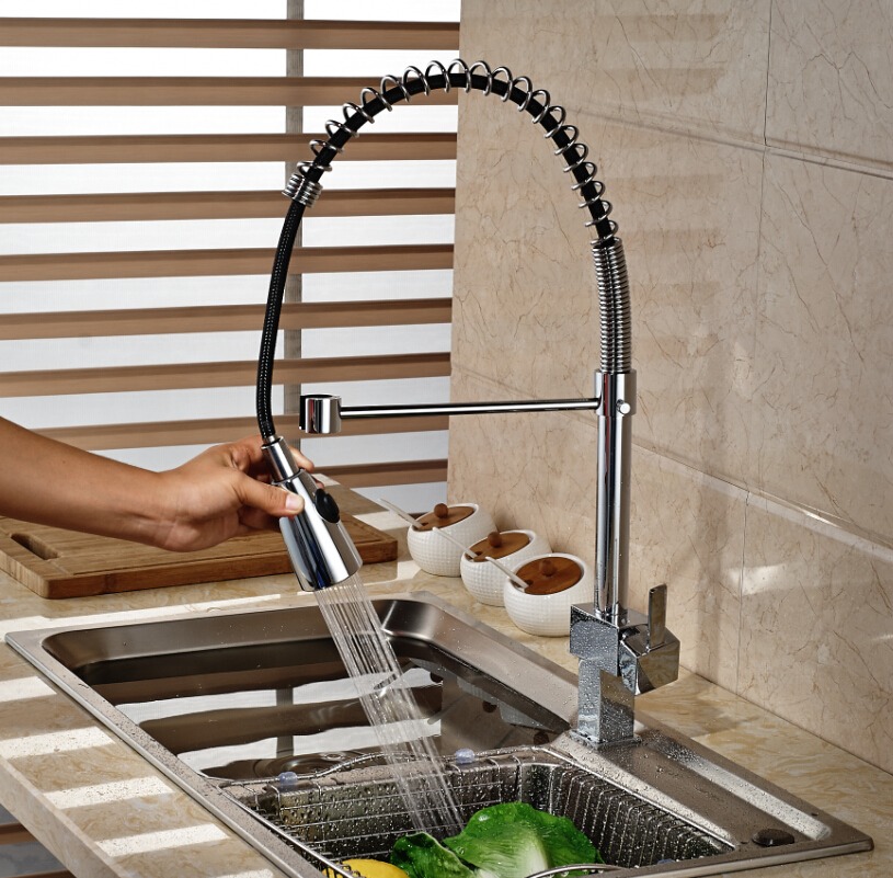 ▽Chrome Finished Single Handle Brass Kitchen Spring Mixer Taps Pull ...