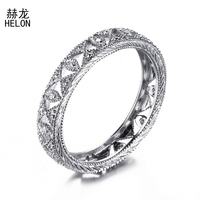 HELON Solid 10K White Gold / Yellow Gold Brilliant Diamonds Ring For Women Full Eternity Band Engagement Wedding Classic Jewelry