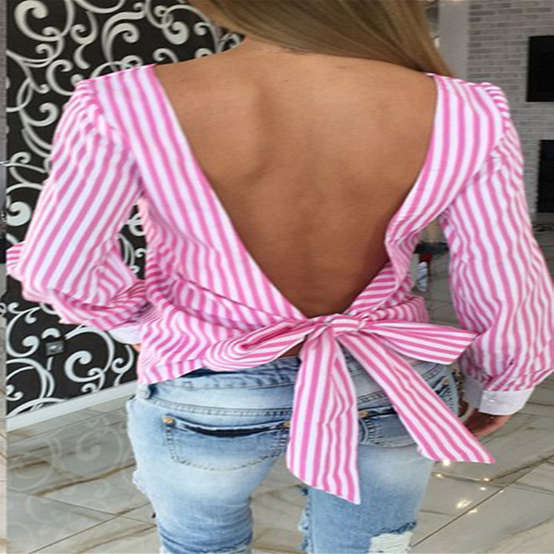 2017 Women Sexy Bowknot Backless Striped Blouses Shirts Long Sleeve O neck Blouse Women Bandage Novelty Female Tops XS-3XL