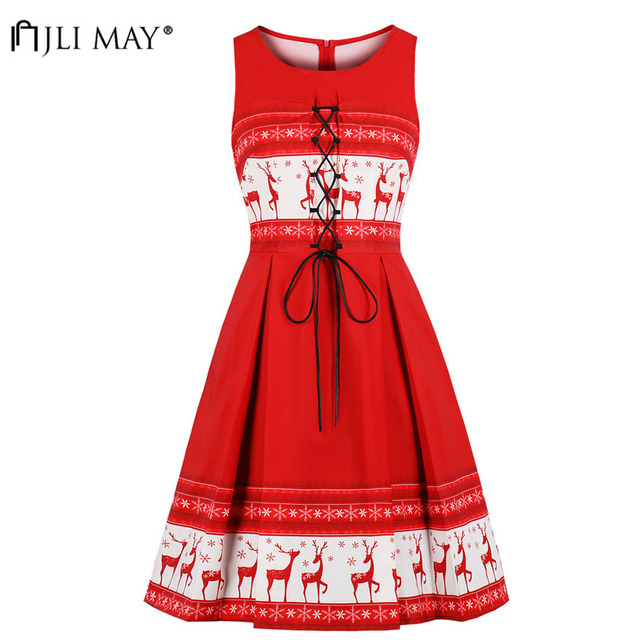 JLI MAY Elk Printed Christmas Dress Party Red Women Winter Clothes Lace  Elegant Sleeveless Midi O 646ea7434eea