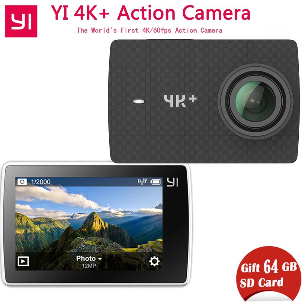 Бесплатная 64 г SD карты Xiaomi Yi 4k + (плюс) экшен-камера Эра xiaoyi 4k + экшен-камера первые 4 К/60fps Амба H2 12MP 155 градусов 2,19 сырые