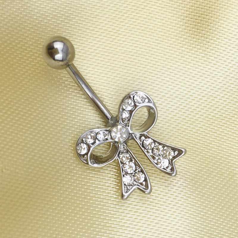 HTB1tklXRXXXXXawXXXXq6xXFXXXU Bow Knot Style Crystal Navel Ring Belly Button Body Piercing Jewelry For Women