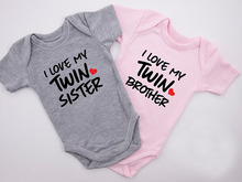 DERMSPE New Casual Newborn Baby Boys Girls Short Sleeve Letter Print I Love My Twin Brother Cotton Romper Clothes Hot Sales