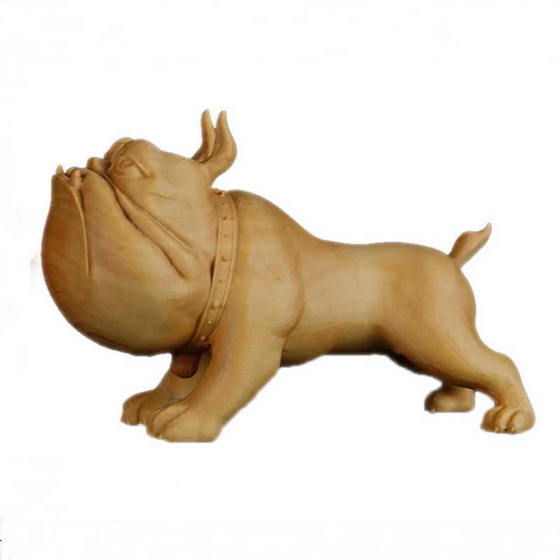 Handmade Poplar Wood Bulldog Display Decoration Art Toy Wedding Birthday Gift Dog