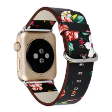 Flower Floral Printed Leather Watch Band for iWatch 3 2 1 Strap for Apple Watch Band 42mm 38mm Wrist Watch Strap Bracelet
