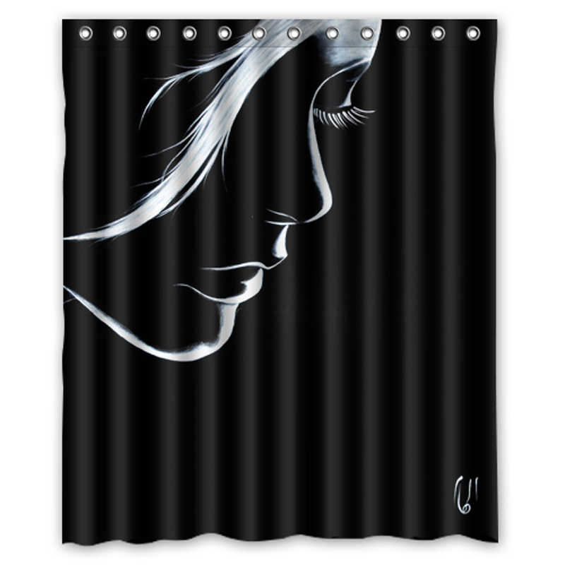 Luxurysmart Black and white women Girl shadow Custom Shower Curtains Design Shower Curtain Bathroom Waterproof Polyester Fabric