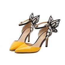 2017 neue Schmetterlingsflügel Spitz Pumps Tipp Fein Mit Bannfarbe High Heels Gelb Schwarz Dünne Ferse Frauen Schuhe Plus Größe 40 ZK30