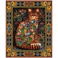 DIY Diamond Painting Cross Stitch Flowers 5D Needlework Mosaic Full Square Drill Icon Diamond Embroidery Cat