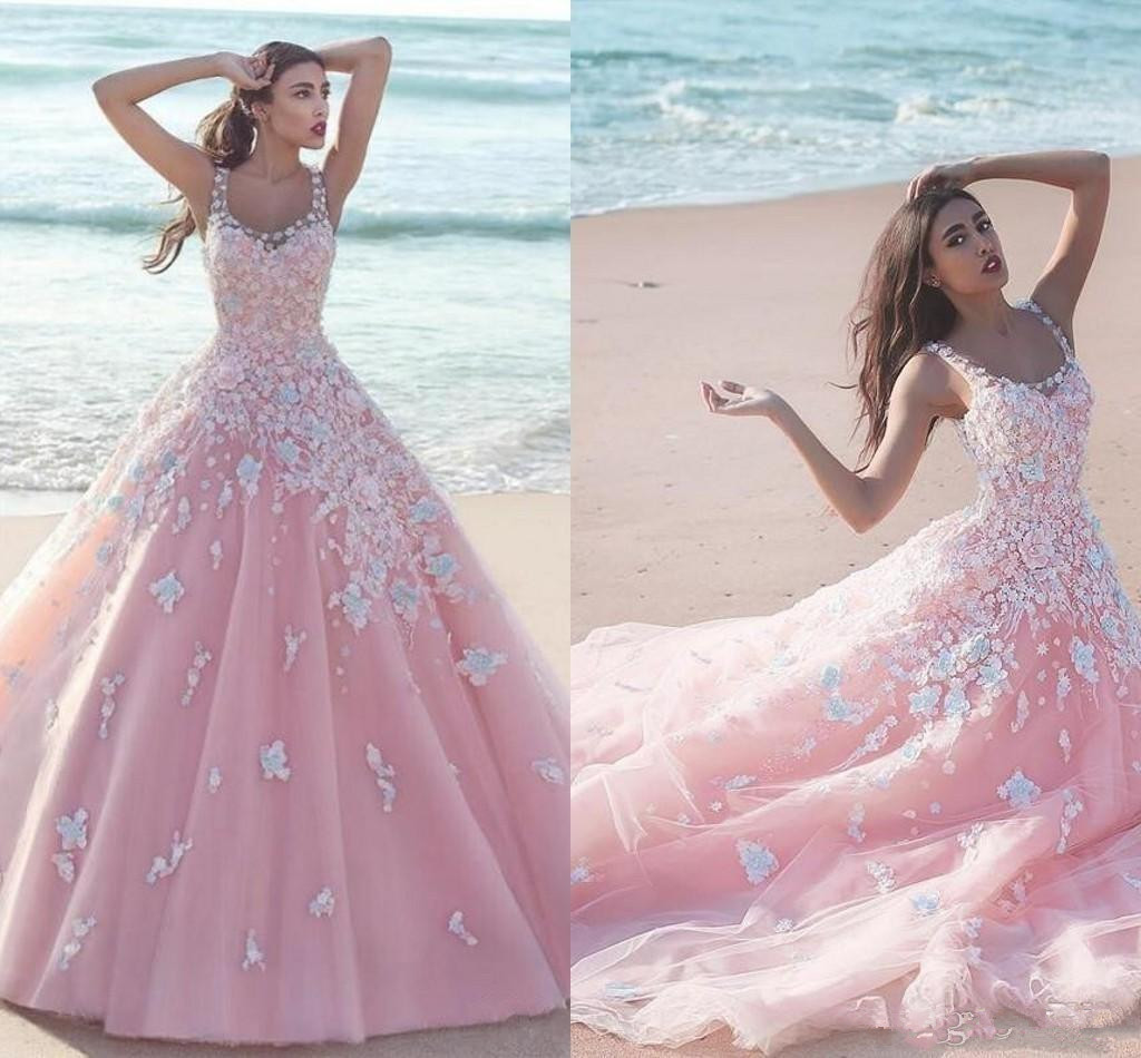 2019 New Pink   Prom     Dresses   Scoop Neck Tulle With Handmade Flowers White Lace Appliques Sweep Train Party   Prom   Gowns