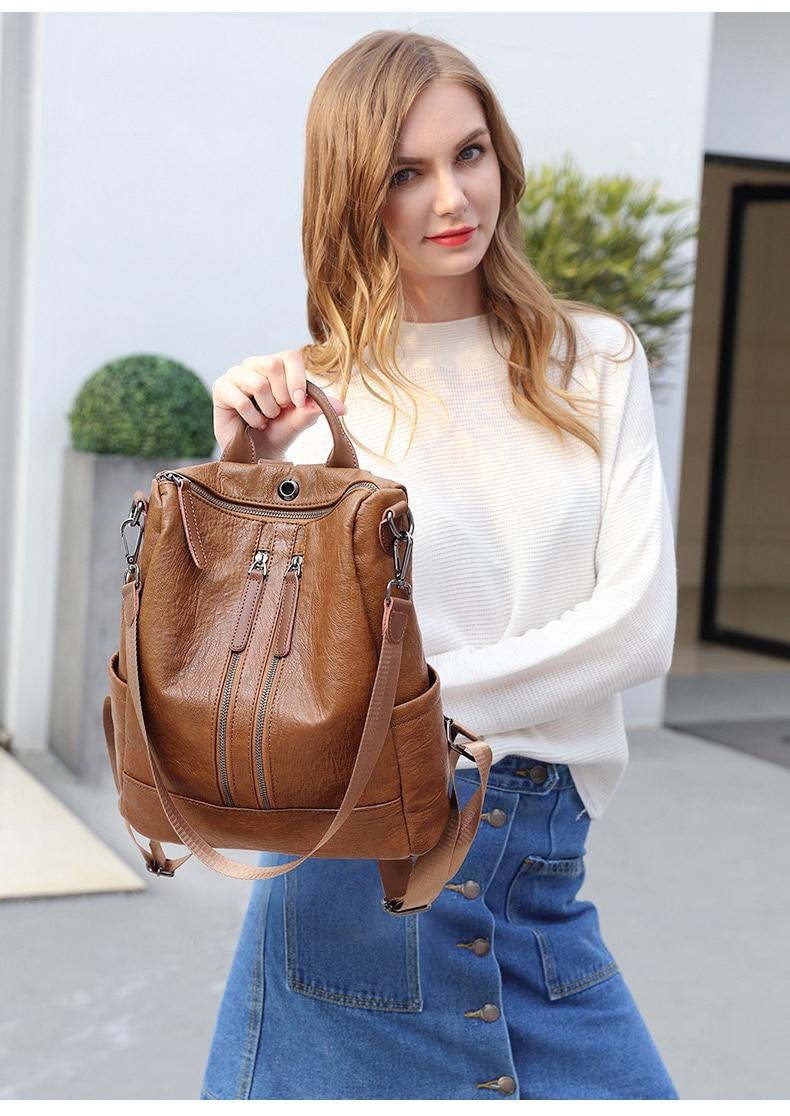 HTB1tklzbEvrK1RjSspcq6zzSXXaS Female backpack mochila feminina casual Multifunction Women Leather Backpack Female Shoulder Bag Sac A Dos Travel Back Pack