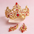 baroque red gold tiaras tiara wedding hair accessories bridal party jewelry crowns earrings sets A187