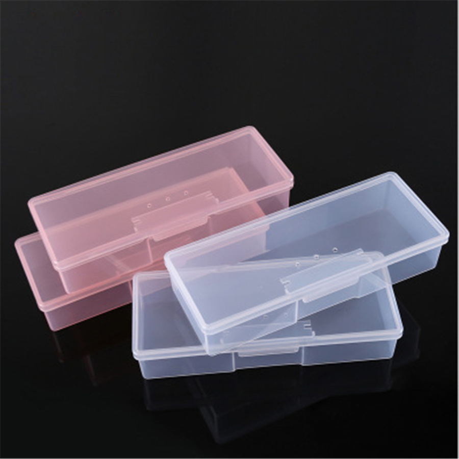 Nail Art & Tools Storage Box Nail Diamond Box Translucent Pink A Piece Of Jewelry Box Nail Drill Storage Box R02