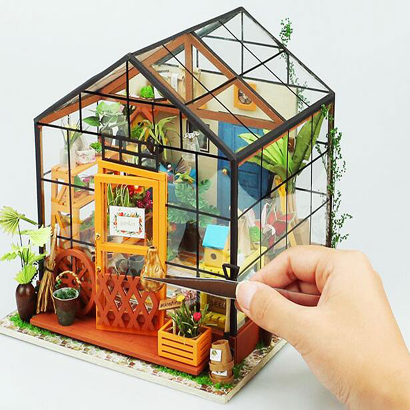 Doll House Miniature DIY Dollhouse With Furnitures Wooden House Toys For Children Kathy s Flower House