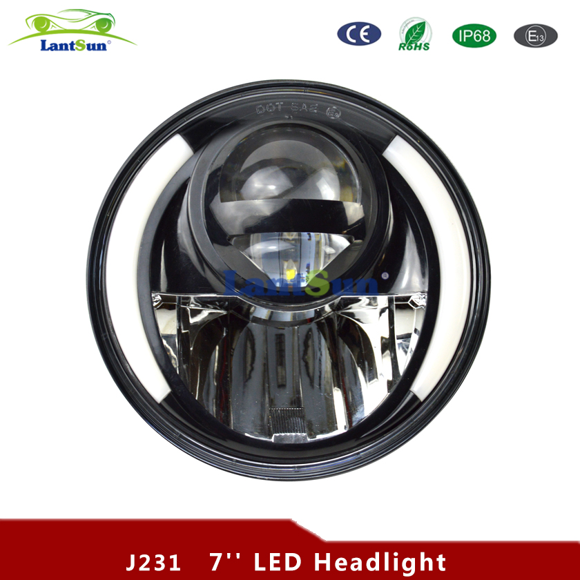 Pair J231 JK Wrangler 7 Inch Round LED Headlight White Halo Angel Eye & DRL LED Projection Lens For Harley Motorcycle pair for harley jk wrangler tj 7 inch round led headlight white halo angel eye drl yellow turn signal led projection daymaker