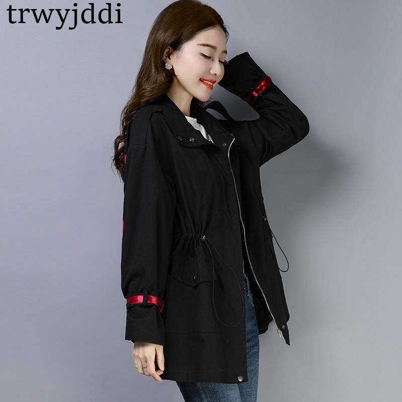 Windbreaker Female long paragraph 2019 new Spring Autumn Korean Large Size Loose Middle-aged   Trench   Coats Women black blue N469