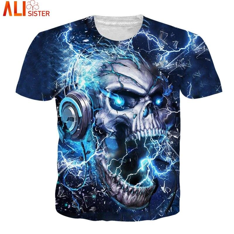 Alisister Thunder Crâne T-shirt EUR Taille Hommes Femmes Hanche Hop D'été T-Shirts 2018 Camisa Masculina Femmes Tee Tops Unisexe pull