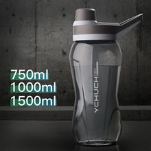 750/1000/1500ml Large Capacity BPA Free Water Bottle Food Grade Plastic Gym Sport Water Bottles Portable Cycling Drink Bottle(China)
