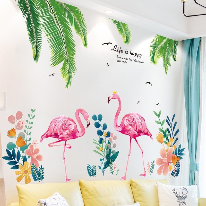 [SHIJUEHEZI] Palmboom Bladeren Muurstickers PVC DIY Flamingo Dier Muursticker voor Woonkamer Keuken Baby Slaapkamer Decoratie