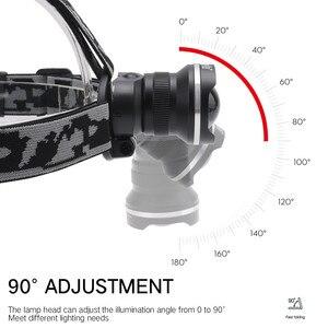 Image 5 - BORUiT RJ 2190 T6 LED פנס 3000LM 3 מצב זום חזק פנס נטענת 18650 עמיד למים ראש לפיד קמפינג ציד