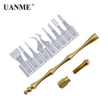 цена на UANME Double Head Pure Copper Handle with 9pcs BGA IC Chip Repair Blade CPU Remover For Mobile Phone Logic Board Repair Tool
