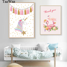 TAAWAA Pink Flamingo Unicorn Posters and Prints Wall Art Canvas Painting Nordic Style Nursery Girls Baby Room Decoration