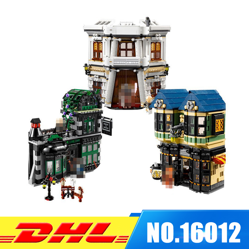 Fit For 10217 LEPIN 16012 2025pcs Movie Series The Diagon Alley Set Model Building Kits Set Blocks Bricks Toys Gift new 1628pcs lepin 07055 genuine series batman movie arkham asylum building blocks bricks toys with 70912 puzzele gift for kids