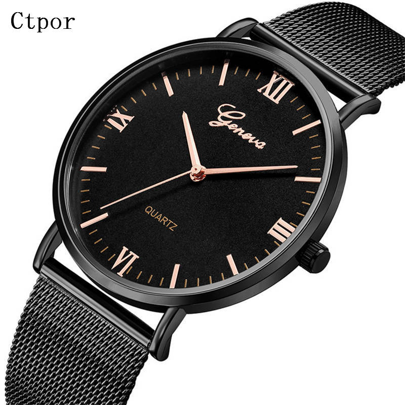 Simple Men's Watches Fashion Stainless Steel Wrist Watch Black Rose Gold Men Watch Waterproof Quartz Clock Man Relogio masculino 100% authentic kingnuos men watch fashion couple high quality quartz clock watch band stainless steel man waterproof wrist watch