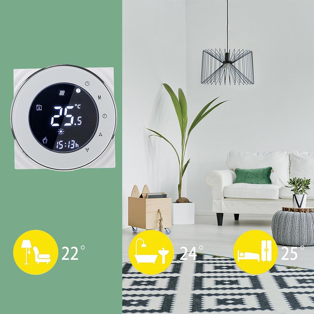 Wifi Thermostat Contrôle Négatif LCD Écran Tactile Programmation Thermostat Chaudière Chauffage Régulateur de Température NTC Capteur 3A