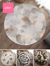 Nordic simple COWHIDE leather round RUG bedroom CARPET bedside cloakroom NATURAL COWHIDES GREY FUR floor MATS