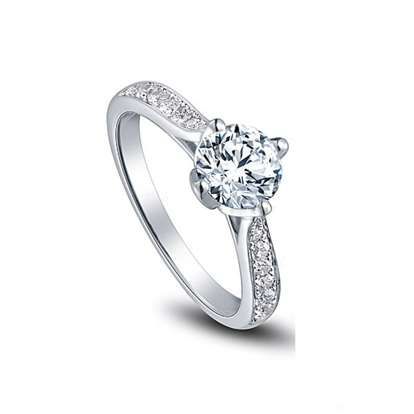 royal 1ct round cut moissanite wedding ring solid 18k 750 white gold moissanite ring for engagament - Cheap Real Wedding Rings