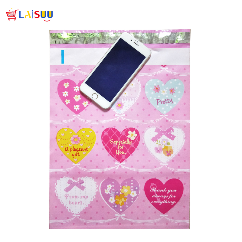 50 Pcs 26x33cm 10x13 Inch Pink Heart Pattern Poly Mailers Self Seal Plastic Envelope Bags / Gift Mailing Bags