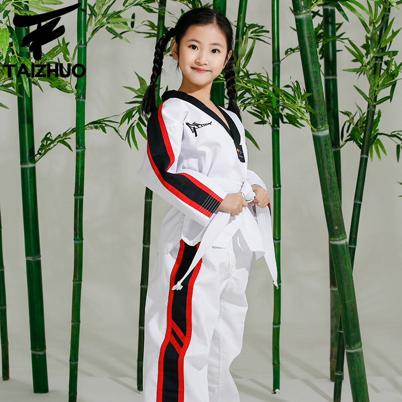5C Economic kids taekwondo doboks children WTF Taekwondo training clothing for boys and girls colorful uniforms kids favorate itf full embroidery taekwondo clothing standard plain 1 3 dan assistant instructor doboks 4 6 dan instructor uniforms wholesale