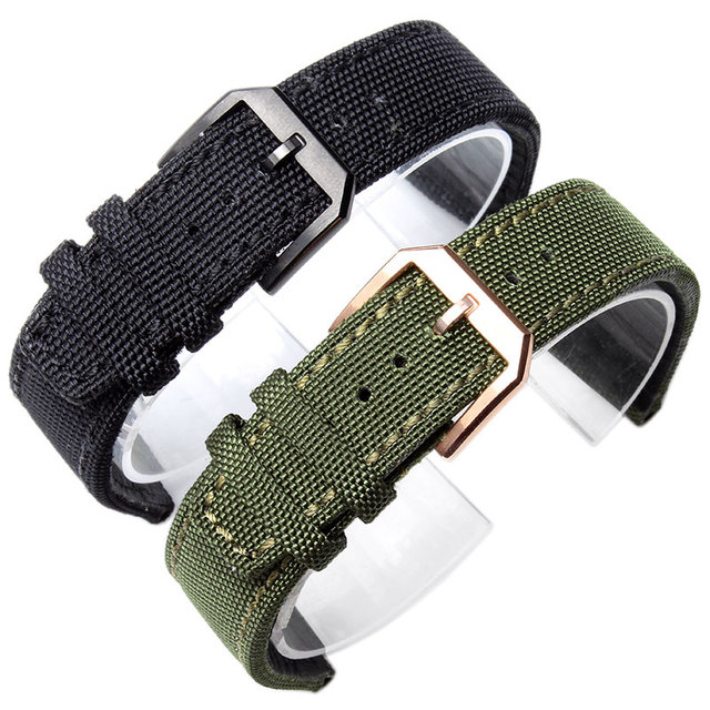 eaac1623d282 20mm 21mm 22mm Canvas Nylon Genuine Leather Watch Band Black Army Green  Watch Accessories Strap For