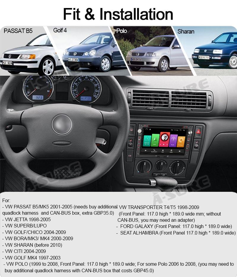 Android 9.0 VW Golf Transporter Passat 2 Din GPS DVD DAB+ WiFI 65