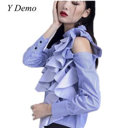 2017 Womens Sweet Ruffles Shirt Shoulder Off Stitching Female Stripes Blouse