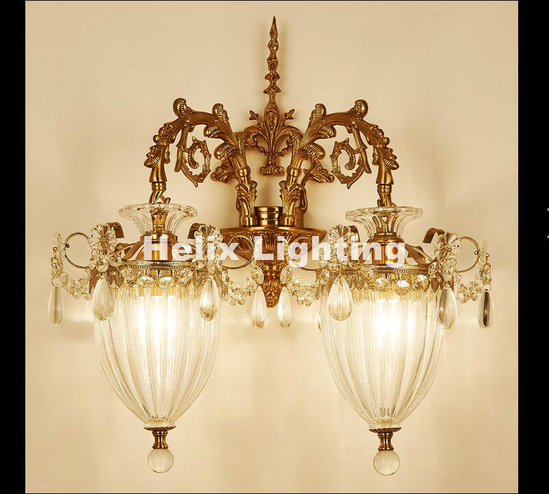 Бесплатная доставка Европейский Роскошный латунь E14 LED Бра Гостиная настенный светильник lamparas де сравнению аппликация murale светильник