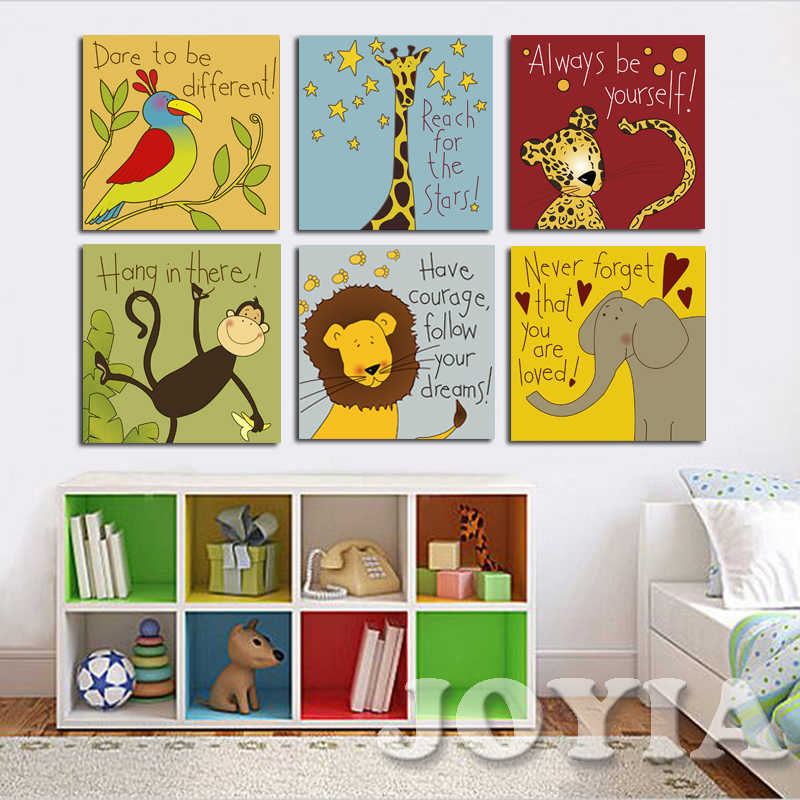 6 Pieces Modern Cartoon Animal Quotes Wall Pictures Kids Bedroom Baby Room Decor Prints Art Animation Canvas Painting Posters