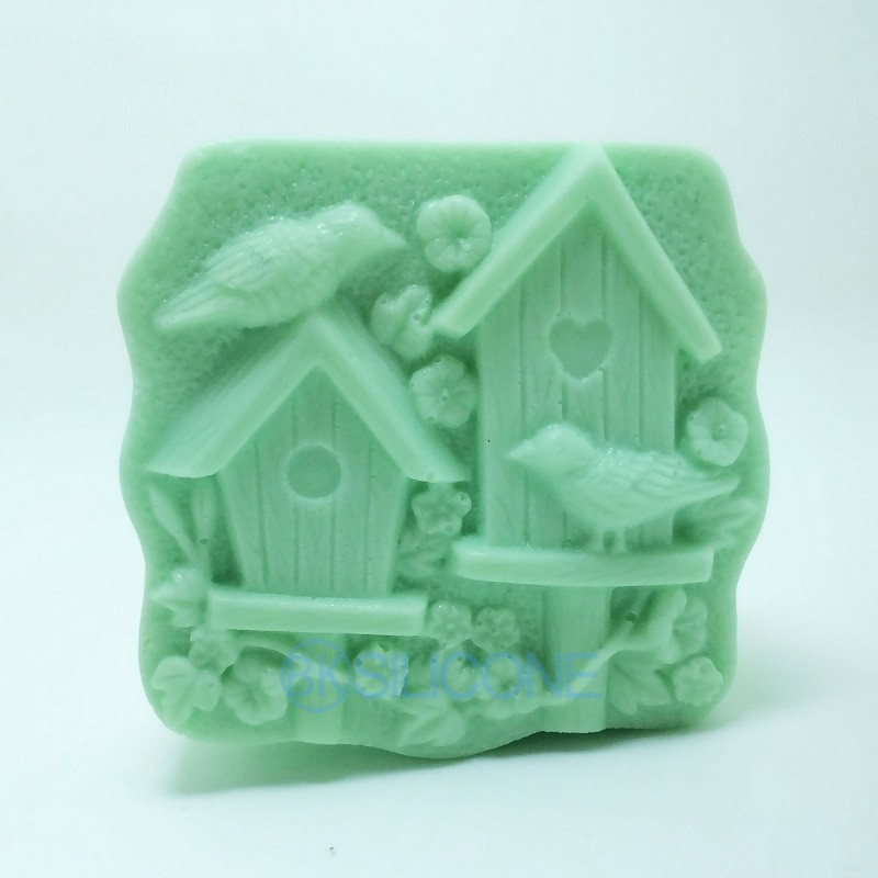 House Pattern Bird Carving Soap mould Hand Making Soap Silicone Mold in Soap Molds from Home Garden