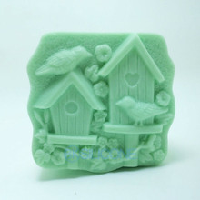 House Pattern Bird Carving Soap mould Hand Making Silicone Mold