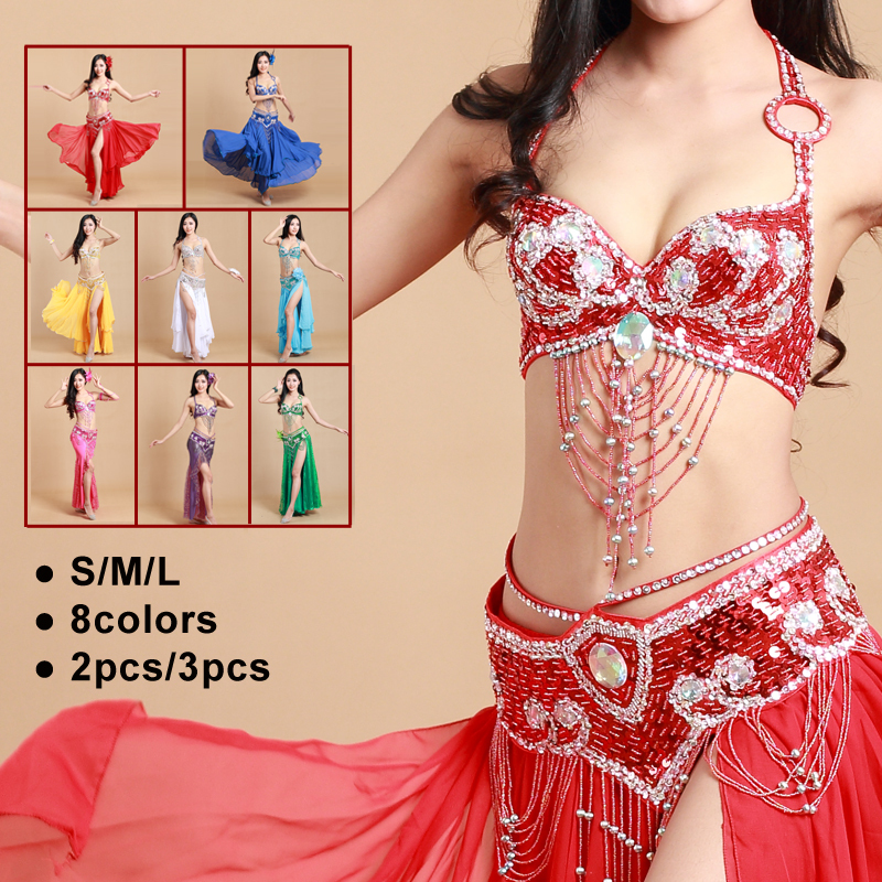 2018 Arabic Beaded Sequins Belly Dance Brabeltskirt 3pcs Set Sexy Egypt Belly Dance Costume For Women Gt 10161
