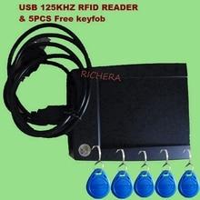125khz USB RFID ID Contactless Proximity Smart Card Reader Read First 10 Digital EM4100 Windows High Quality &5pcs Free Keyfob