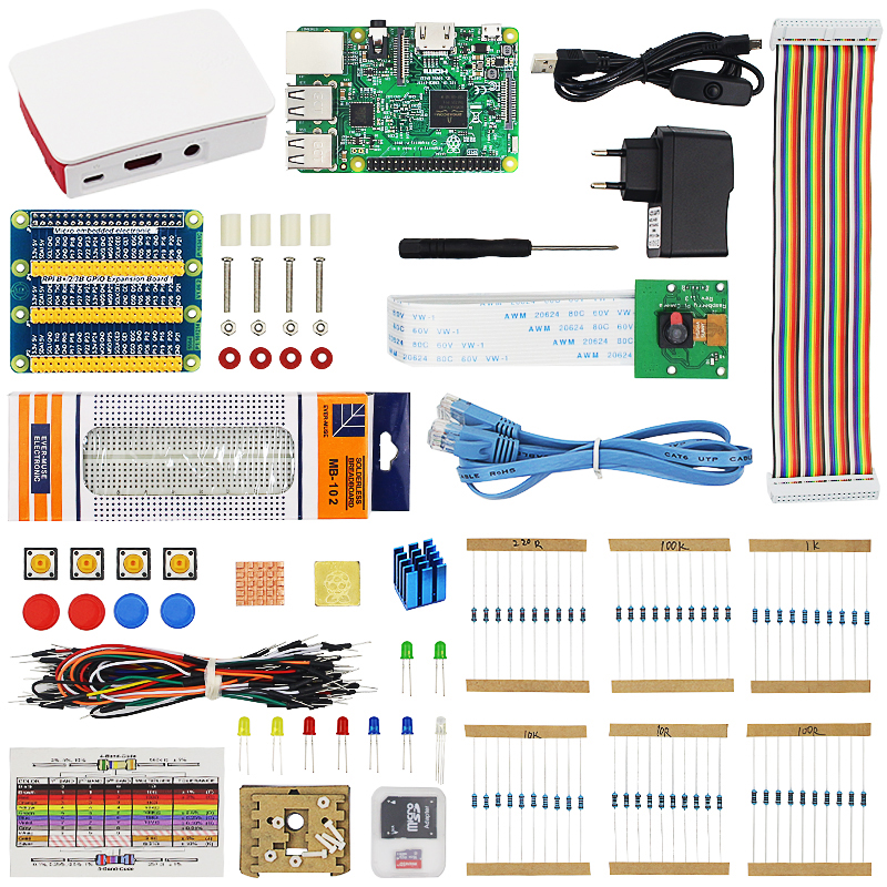 Raspberry Pi 3 Model B Starter Kit Raspberry Pi 3 + 16G SD Card +ABS Case + Power Adapter + 5MP Webcam Camera with Retail Box raspberry pi zero w basic starter kit raspberry pi zero 16g sd card power adapter acrylic case hdmi cable