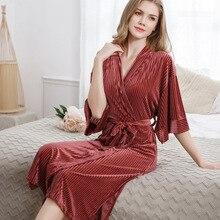Long autumn and winter ladies pajamas thick gold velvet robe sexy bathrobe home service temperament